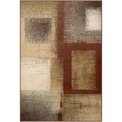 Helfrich Burgundy/Beige Area Rug Rug Size: Rectangle 79 x 112