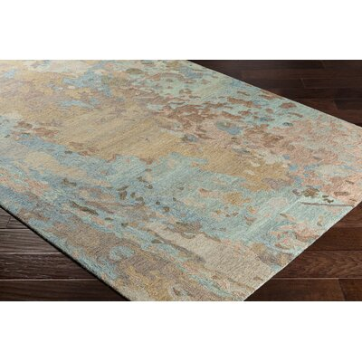 Randall Abstract Hand-Hooked Wool Sky Blue/Tan Area Rug Rug Size: Rectangle 8 x 10