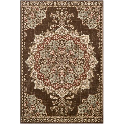 Gerena Vintage Floral Dark Brown/Burgundy Area Rug Rug Size: Rectangle 79 x 112