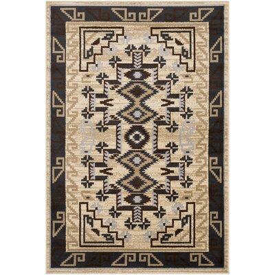 Thornton Dark Teal/Tan Area Rug Rug Size: Rectangle 79 x 112