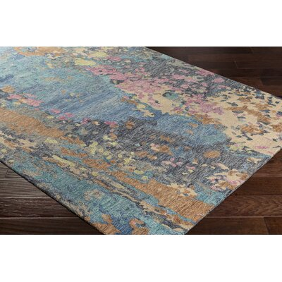 Randall Abstract Hand-Hooked Wool Teal/Navy Area Rug Rug Size: Rectangle 5 x 76