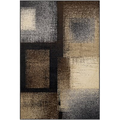 Helfrich Black/Dark Brown Area Rug Rug Size: Rectangle 67 x 96