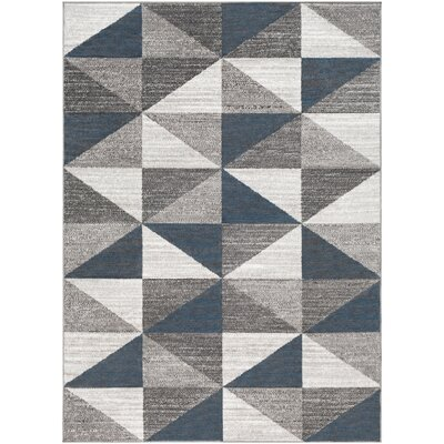 Cudney Geometric Navy/Gray Area Rug Rug Size: Rectangle 53 x 73