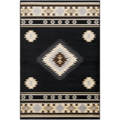 Thornton Bohemian/Global Black/Cream Area Rug Rug Size: Rectangle 53 x 76