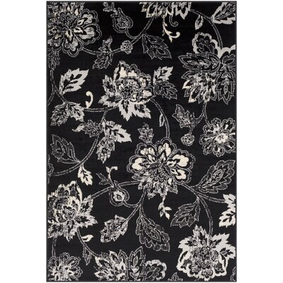 Ramsay Distressed Floral Black/Cream Area Rug Rug Size: Rectangle 53 x 76