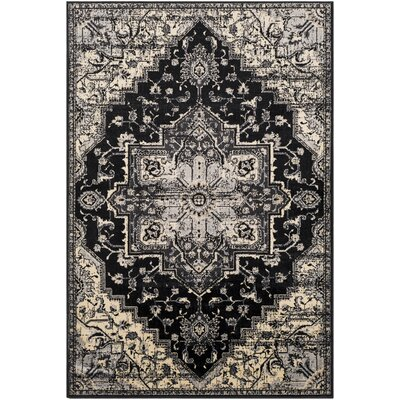 Gerena Vintage Floral Black/Light Gray Area Rug Rug Size: Rectangle 53 x 76