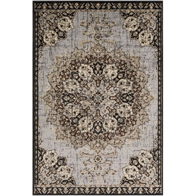 Gerena Vintage Floral Black/Taupe Area Rug Rug Size: Rectangle 53 x 76