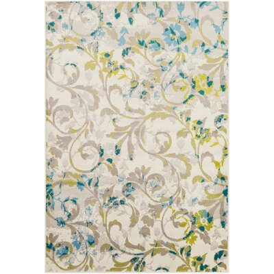 Ramsay Floral Taupe/Lime Area Rug Rug Size: Rectangle 67 x 96