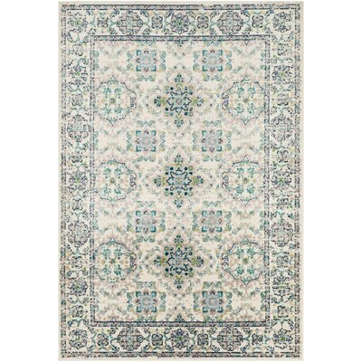 Ramsay Floral Baby Blue/Taupe Area Rug Rug Size: Rectangle 67 x 96
