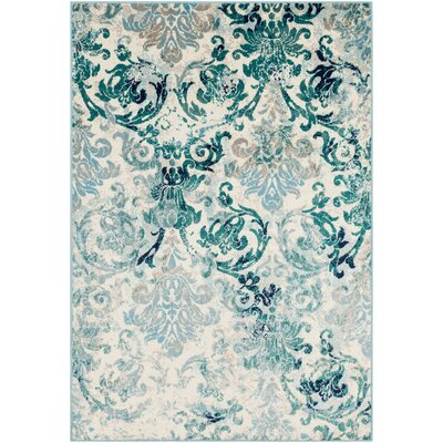 Ramsay Distressed Floral Teal/Light Blue Area Rug Rug Size: Rectangle 2 x 3