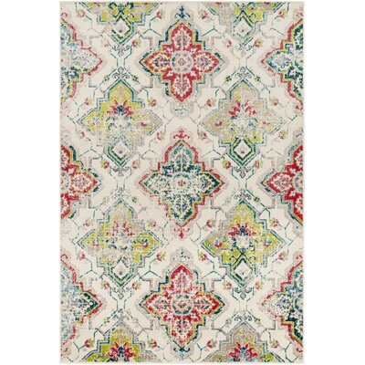 Ramsay Distressed Floral Red/Cyan Area Rug Rug Size: Rectangle 67 x 96