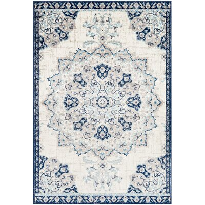 Ramsay Vintage Floral Navy/Baby Blue Area Rug Rug Size: Rectangle 53 x 76