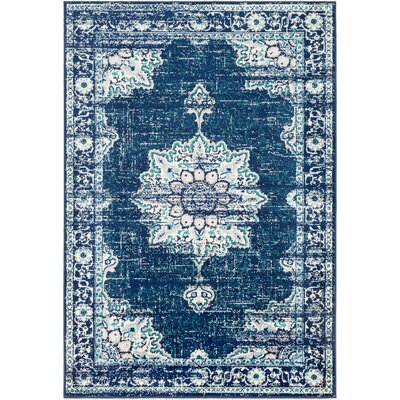 Ramsay Distressed Vintage Cyan/Dark Blue Area Rug Rug Size: Rectangle 53 x 76