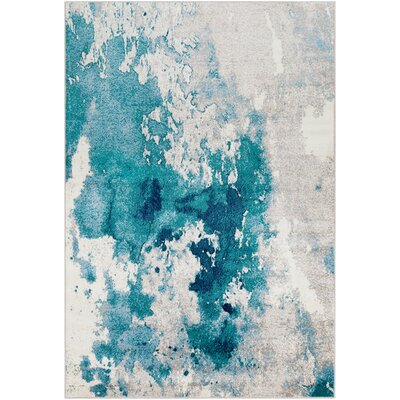 Ramsay Abstract Teal/Light Gray Area Rug Rug Size: Rectangle 79 x 112