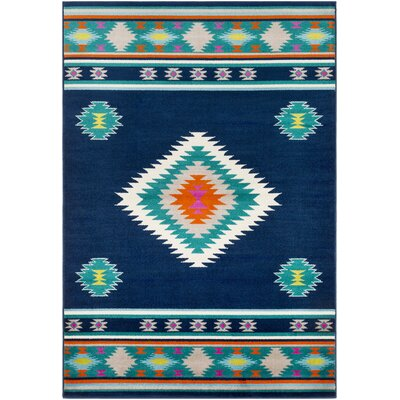 Thornton Navy/Aqua Area Rug Rug Size: Rectangle 79 x 112