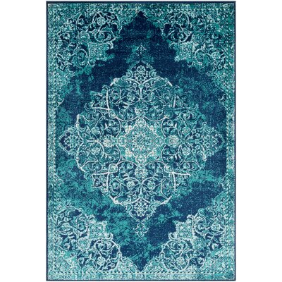 Ramsay Overdyed Vintage Cyan/Dark Blue Area Rug Rug Size: Rectangle 79 x 112