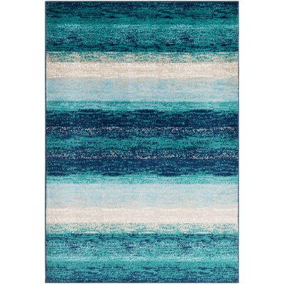 Eley Cyan/Navy Area Rug Rug Size: Rectangle 79 x 112