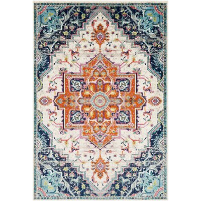 Ramsay Vintage Oriental Bright Orange/Navy Area Rug Rug Size: Rectangle 53 x 76