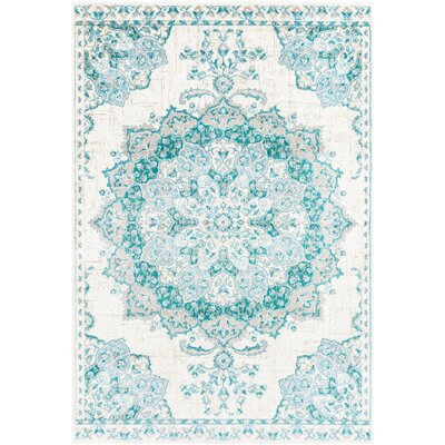 Ramsay Vintage Aqua/Sky Blue Area Rug Rug Size: Rectangle 79 x 112