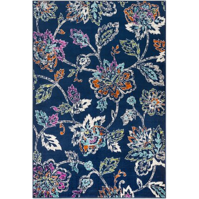 Ramsay Distressed Floral Navy/Cyan Area Rug Rug Size: Rectangle 2 x 3