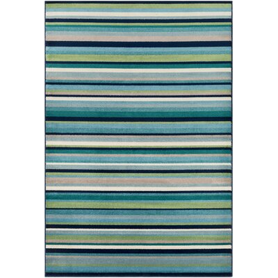 Eley Striped Teal/Grass Green Area Rug Rug Size: Rectangle 79 x 112
