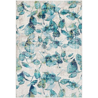 Ramsay Distressed Floral Cyan/Navy Area Rug Rug Size: Rectangle 79 x 112