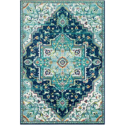 Ramsay Distressed Vintage Aqua/Teal Area Rug Rug Size: Rectangle 53 x 76