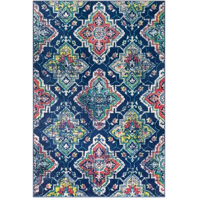 Ramsay Distressed Navy/Teal Area Rug Rug Size: Rectangle 2 x 3