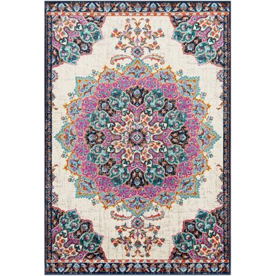 Ramsay Vintage Floral Fusciam Aqua/Navy Area Rug Rug Size: Rectangle 53 x 76