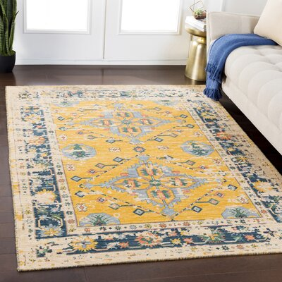Rand Distressed Vintage Bright Yellow/Pale Blue Area Rug Rug Size: Rectangle 53 x 76