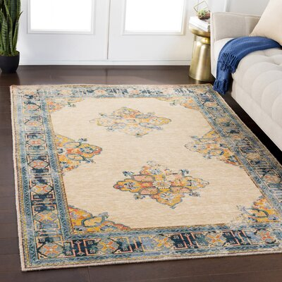 Rand Distressed Vintage Saffron/Pale Blue Area Rug Rug Size: Rectangle 53 x 76