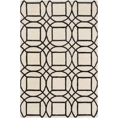 Hance Geometric Hand-Tufted Cream/Black Area Rug Rug Size: Rectangle 8 x 10