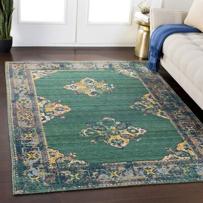 Rand Overdyed Vintage Dark Green/Bright Yellow Area Rug Rug Size: Rectangle 53 x 76