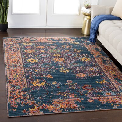 Rand Overdyed Vintage Navy/Peach Area Rug Rug Size: Rectangle 53 x 76