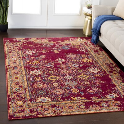 Rand Overdyed Floral Burgundy/Bright Yellow Area Rug Rug Size: Rectangle 53 x 76