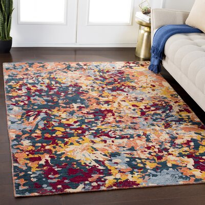 Rand Abstract Bright Yellow/Burgundy Area Rug Rug Size: Rectangle 2 x 29