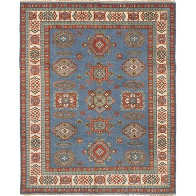 One-of-a-Kind Ballester Hand-Knotted Wool Light Denim Blue Area Rug