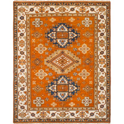 One-of-a-Kind Ballester Hand-Knotted Wool Orange Area Rug
