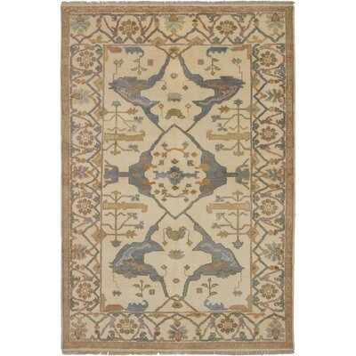 One-of-a-Kind Ballsallagh Hand-Knotted Wool Cream Area Rug