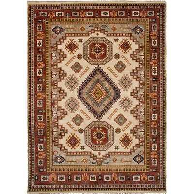One-of-a-Kind Ballester Hand-Knotted Wool Cream Area Rug