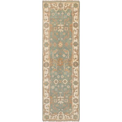 One-of-a-Kind Ballsallagh Hand-Knotted Wool Teal Area Rug