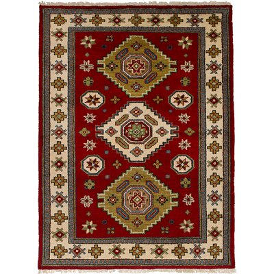 One-of-a-Kind Ballester Hand-Knotted Wool Dark Red Area Rug