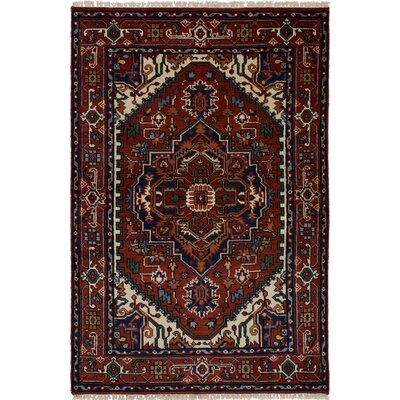 One-of-a-kind Baldry Hand-Knotted Wool Dark Red Area Rug