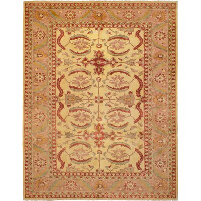 One-of-a-kind Beem Hand-Knotted Wool Cream/Red Area Rug