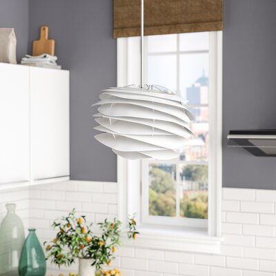 Crowthorne 1-Light Plug-In Geometric Pendant Cord/Cable Finish: White, Finish: White, Size: 8.6 H x 12.6 W x 12.6 D