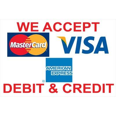 Visa Amex Banner Size: 24 H x 36 W
