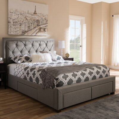 Tantallon Storage Upholstered Platform Bed with Mattress Color: Gray, Size: King