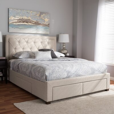 Tantallon Storage Upholstered Platform Bed with Mattress Color: Beige, Size: Queen