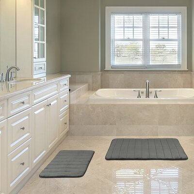 Kulick Hydro Grip Memory Foam 2 Piece Bath Rug Color: Silver