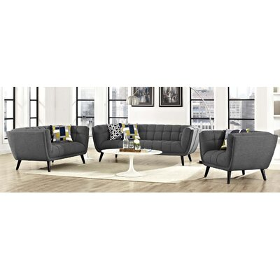 Seneca 3 Piece Living Room Set Color: Dark Gray